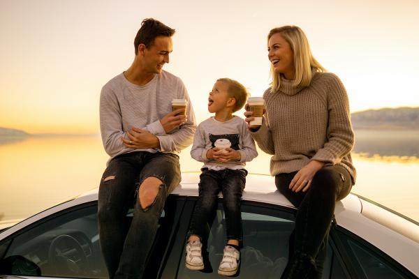 family coffee sunset